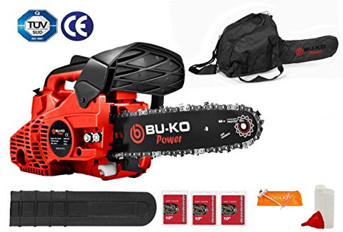 BU-KO 26 cc Lightweight 3.5kg - Top Handled Petrol Chainsaw | 3 Chains and 10' Bar Included | Cover...