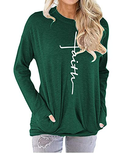 MANSY Womens Summer Casual Faith Tshirts Letter Printed Short sleeve and Long sleeve Graphic Tees Tops Sweatshirt Pockets (2XL, L-Green)