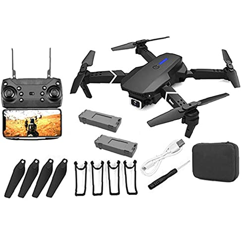 GPS Drone E88 Pro para Adultos 4K Pro Dual Cámara Plegable Video Live Drone RC Quadcopter Aviones con 2 Battery Black Supply Supplies