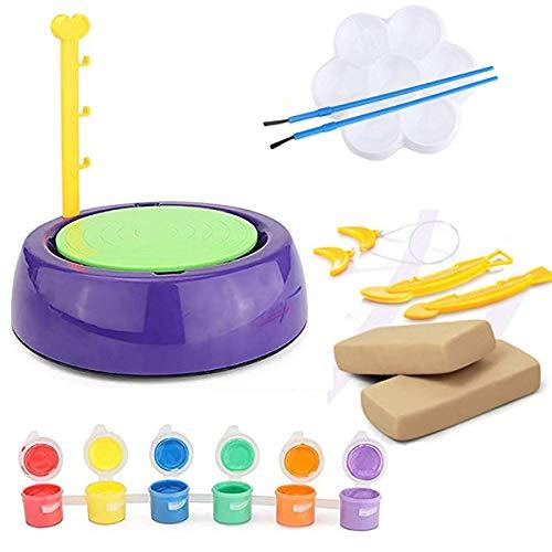 ZSCKJ Torno de alfarero eléctrico para niños, con disco de alfarería extraíble,...