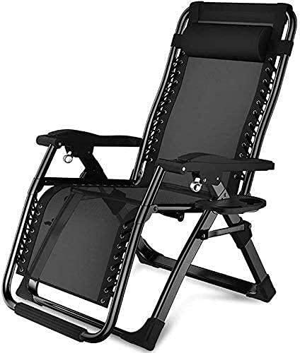 L&B-MR Cama plegable ajustable, tumbona de gravedad cero, silla plegable para muebles de jardín, sofá perezoso para el hogar y la oficina (color: negro)
