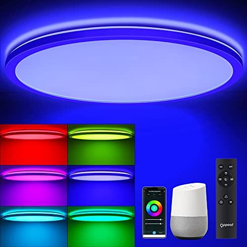Samrt RGB LED Deckenleuchte Flach mit Fernbedienung, OPPEARL LED Deckenlampe WIFI Farbwechsel Ultraslim, 24W 4000K Rund Leuchte Kompatibel mit Samrt Life/TUYA für Wohn-/Schlafzimmer Küche, Ø42*2.5cm