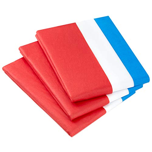 Hallmark Red, White and Blue Bulk Tissue Paper (120 Sheets) for Gift Bags, Birthdays, Graduations, Fourth of July, Christmas, Hanukkah