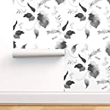 Spoonflower Pre-Pasted Removable Wallpaper, Black and White Floral Flowers Boho Nursery Garden Print, Water-Activated Wallpaper, 24in x 108in Roll