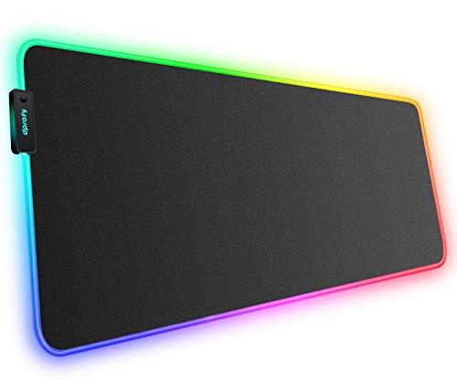 Großes RGB Gaming-Mauspad – weiche, rutschfeste Gummiunterseite, LED-Mauspad, dicke Computer-Tastatur für MacBook, PC, Laptop, Schreibtisch (80 x 40 x 0,4 cm) 31.5 x 11.8 x 0.15In