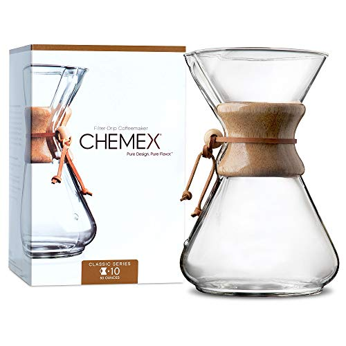 CHEMEX Classic Series, Pour-Over Glass Coffeemaker, 10 Cup - Exclusive Packaging