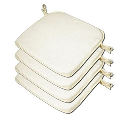 LB Garden, Dining Chair Foam Cushions Tie On Seat Pads in set of 2,4,6 or 8 (CREAM, PACK OF 4)
