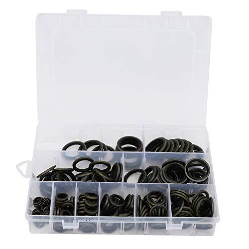Les-Theresa 180pcs M6-M24 Kits de surtido de juntas tóricas de goma Juego de arandelas de junta de tornillo de drenaje de aceite Kit de anillo de sellado adherido