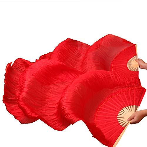 シルクファンベール 2本セット シルク100% ベリーダンス ファンベール シルクファンベール ベール シルク 衣装 扇子 団扇 舞台 小道具 アクセサリー 扇子 団扇 150 * 90 cm (赤)