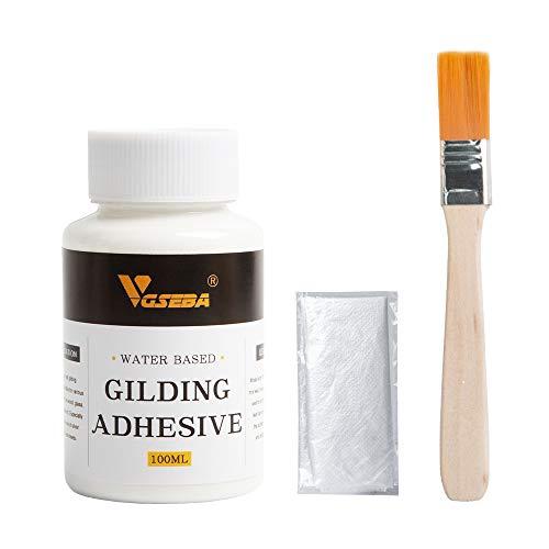 VGSEBA Gilding Adhesive, Epoxy Resin Water Based Metal Leaf Glue 100ml for Craft, Arts, Wood Use (100ml + Brush + Gloves)