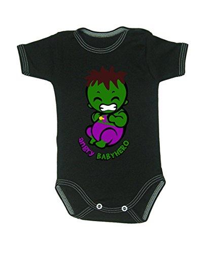Couleur Mode bébé Hulk bodies à manches courtes 100% coton Petit bébé – 24 mois – 0009 noir 0-3 months, 62 cm
