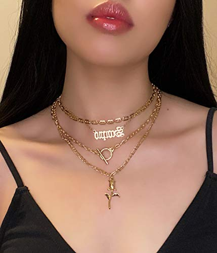 Anglacesmade 4Pcs Bohemian Layered Rose Choker Necklace with Toggle Clasp Figaro Link Chain Necklace Boho Prom Party Festival Jewelry for Women and Girls (Gold)