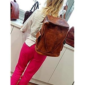 41PpEpt y2L. SS300  - Mochila de piel vintage mochila piel lavada mochila marrón hombre mujer mochila viaje mochila de cuero mochila sport…