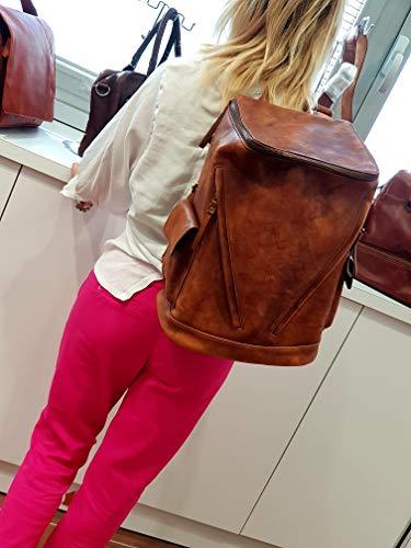 41PpEpt y2L - Mochila de piel vintage mochila piel lavada mochila marrón hombre mujer mochila viaje mochila de cuero mochila sport…