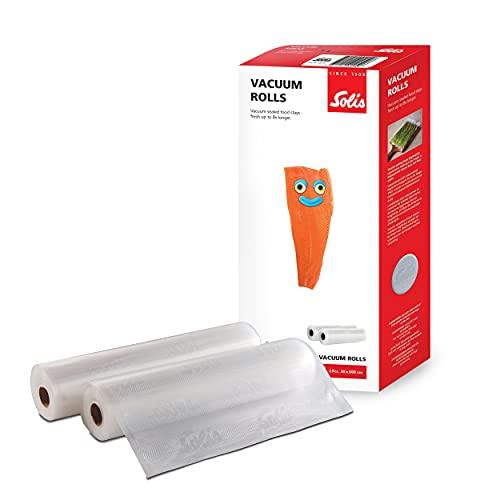 Solis Vakuumierfolie 2 Rollen - 30 x 600 - Tiefkühlen/Vakuumgaren - Persönlich Zuschneiden - Wiederverwendbar