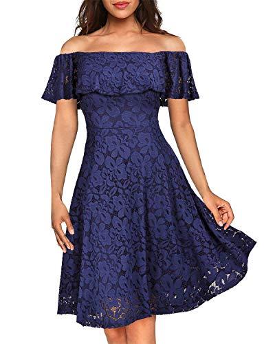 Kidsform Damen Schulterfreies Kleid Elegant Abendkleid Vintage Spitzenkleid Cocktail Party Brautkleider für Hochzeit Ballkleid Dunkelblau L