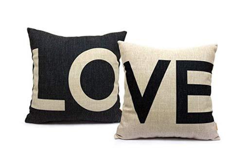 Juego de 2 fundas de almohada decorativas de lino y algodón, color blanco y negro, para sofá, cama, coche, 45,7 x 45,7 cm