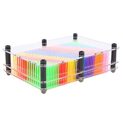 Clone Pin Art Toy, robuster transparenter Rahmen Fun Pin Art Toy, tragbar langlebig für Erwachsene Büro Kinderheim(Medium, Colorful on white)