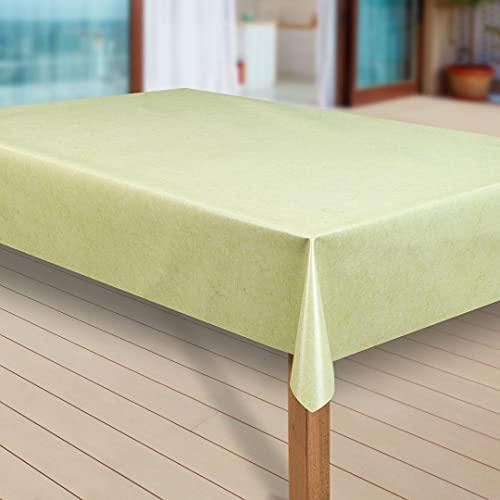 laro Wachstuch-Tischdecke Abwaschbar Garten-Tischdecke Wachstischdecke PVC Plastik-Tischdecken Eckig Meterware Wasserabweisend Abwischbar, Muster:Uni grün meliert, Größe:100x160 cm