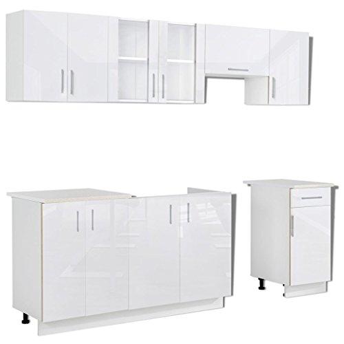 vidaXL 7X Armadietti Cucina Bianco Lucido Componibile Truciolare unità Pensili