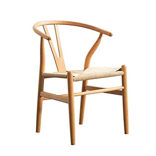 CENPEN Silla de comedor de madera maciza, silla de comedor, silla nórdica, silla en Y, cuerda trenzada, silla de ordenador, sillas de cocina (color: color de madera, tamaño: 45 cm x 48 cm x 75 cm)