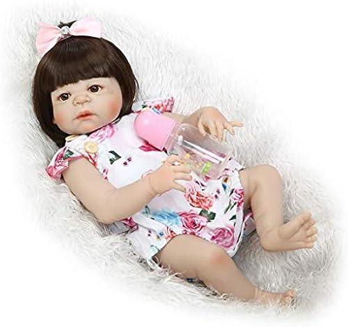 Lsrryd Wiedergeboren 23   57 cm Babypuppen Simulation Weiß Silikon Vinyl Lebensecht Baby Realistisch Neugeborenes  lich Echt Puppe (Farbe   braun Eyes)