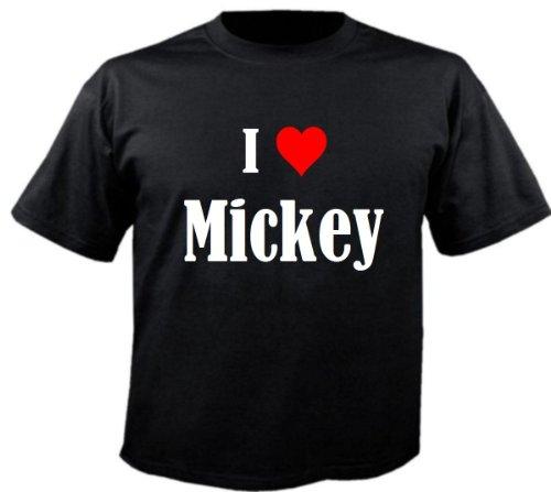 Camiseta I Love Mickey para mujer, hombre y niños en los colores negro, blanco y rosa. Negro 12 años