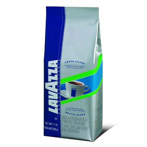 Lavazza Gran Filtro Decaffeinato Whole Bean Coffee Blend, Decaffeinated Medium Roast, 1.1-Pound Bag