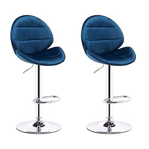 CHY Metálica Taburetes De La Barra Ajustable, Giratorio Taburetes Juego De 2, Ajustable Taburetes con La Espalda, For La Cocina Casera De Interior (Color : Blue, Size : Bar stools Set of 2)