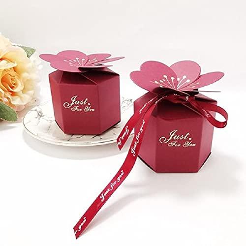 XIANRENGE 20 Piezas Flor de pétalo Chocolate Caramelo Caja de cartón decoración Papel Caja de Regalo Embalaje Evento Fiesta withribbon20pc Vino