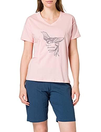Schiesser Damen Schlafanzug kurz 1/2 Arm Oberteil und Bermuda Hose Pyjamaset, rosa, 44