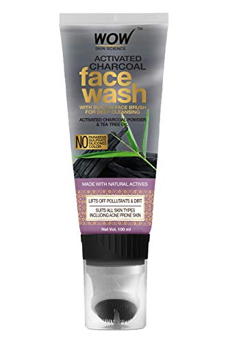 WOW Skin Science Activated Charcoal Face Wash Gel with Built-In Face Brush for Removing Impurities – No Parabens, Sulphate, Silicones & Color – Tube, 100 ml