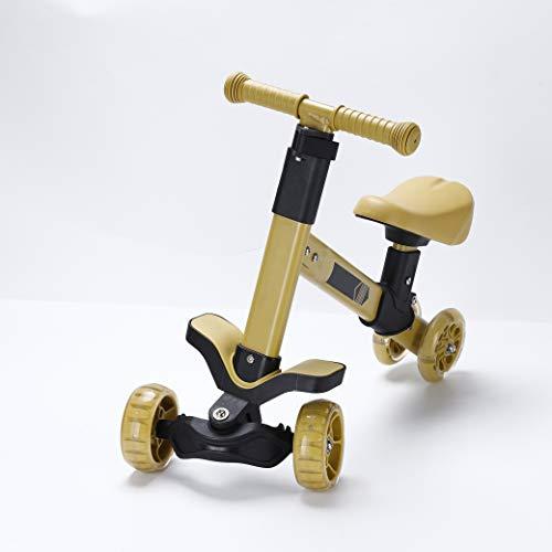 Calma Dragon Triciclo GDKWP02, Bicicleta sin Pedales para Niños, Correpasillos para Bebes, Bici para niños con Sillín Regulable, Ruedas con Luces Led (Amarillo)