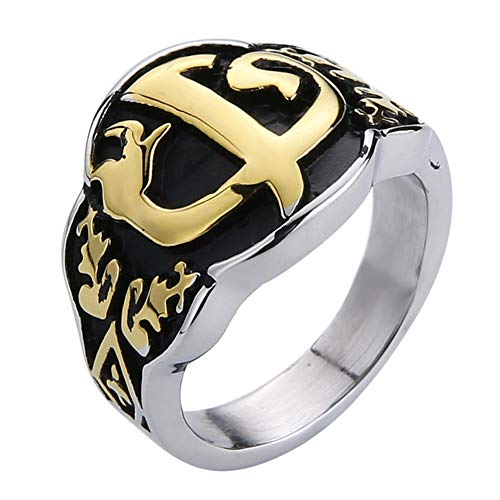 Valily Men Ring Gold Kayi Obasi Flag Ottoman Empire Stainless Steel Ring for Men Hiphop Punk Rings Jewelry Anillo