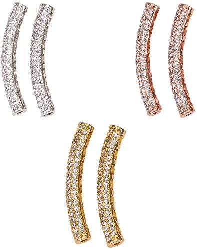 nbeads 10個 真鍮 キュービックジルコニアビーズ チューブビーズ キュービックジルコニア カーブしたチューブ チャームビーズ ブレスレット ネックレス ジュエリー アクセサリーパーツ DIY用品 手芸用品 混合色