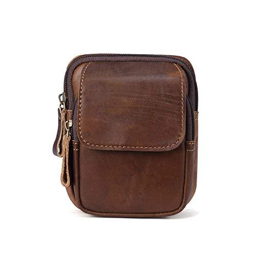 FANDARE Riñonera Cuero Bolsa Bolso de Cintura Impermeable Waist Bag para Phone, Partido,Viaje,Correr Marrón A