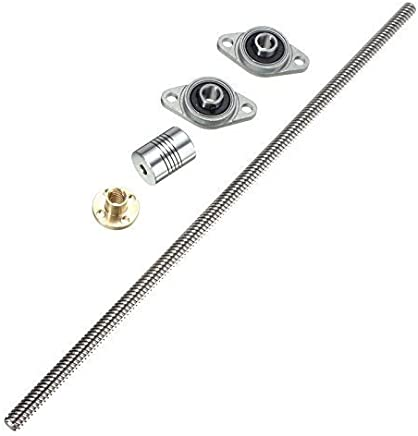 Toolcool T8 200mm Lead Screw with Mounted Ball Bearing and Shaft Coupling