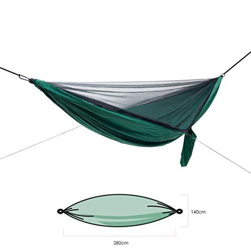 Hamacs, Meubles de Camping Stockage Portable Simple Multi-scénario Applicable Anti-Moustique Charge Solide et Durable 180 kg (Couleur: Vert foncé, Taille: 280 * 140 cm) Confortable