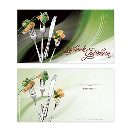 100 Stk. Hochwertige Gutscheinkarten Geschenkgutscheine. Motiv für Gastronomie Restaurants. Vorderseite hochglänzend. G1230