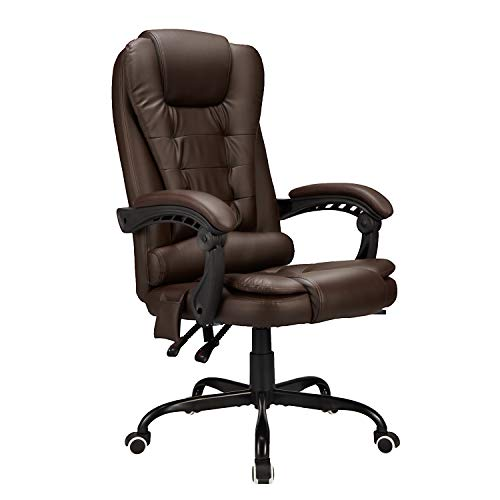 Esright Ergonomic Office Chair High Back PU Leather Computer Chair Height Adjustable Desk Chair Heated Massage Recliner Chair with Lumbar Support, Brown (Without footrest)