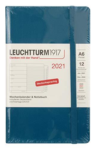 LEUCHTTURM1917 361836 Wochenkalender & Notizbuch 2021 Hardcover Pocket (A6), 12 Monate, Pacific Green, Deutsch
