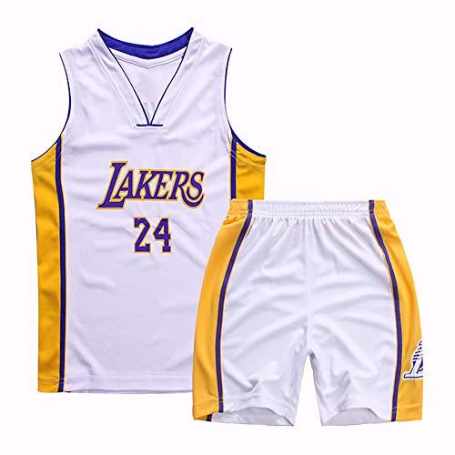 Herren- und Damen-Basketballuniformen, Lakers Nr. 24 Cavaliers Nr. 23 Lebron James Warriors Nr. 30 Bulls Nr. 23 Fan Edition Trikot, Kindertrikotset, Lakers White-XL