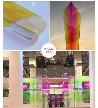 DDLC 3M-Folie, dichroisch irisierend, für Glasfenster und Acrylscheiben, 68 cm breit, Rot - Red Dichroic - 68CMX1M