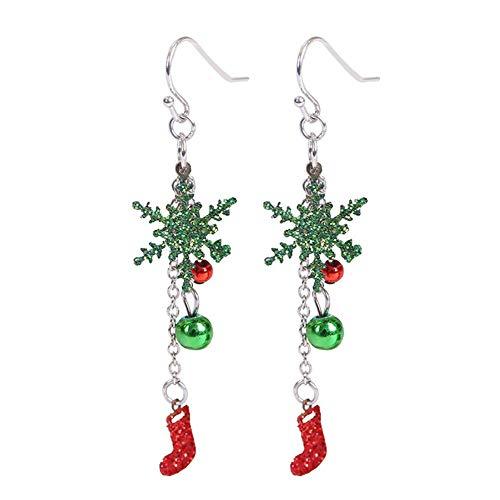 MSYOU Christmas Earring Cute Pendant Earrings Ladies Women Girl Jewelry Gift for Mother Daughter Friend(Green)