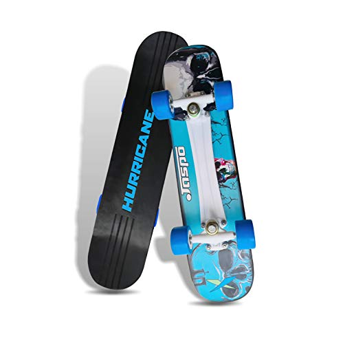Jaspo Wooden Hurricane Skateboard Suitable for Age Group Above 10 Years with 90 kg Weight handling Capacity (27' x 7')Uk,1 Piece Black