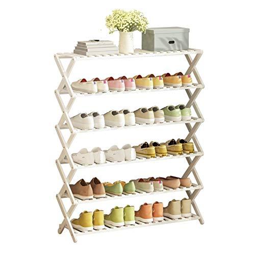 SHDS Zapatero de 6 Niveles Blanco estantes para Zapatos de bambú Blanco Nueva actualización de 2020 súper Resistente y Duradero Plegable sin instalación para Guardar Zapatos para 25 Pares