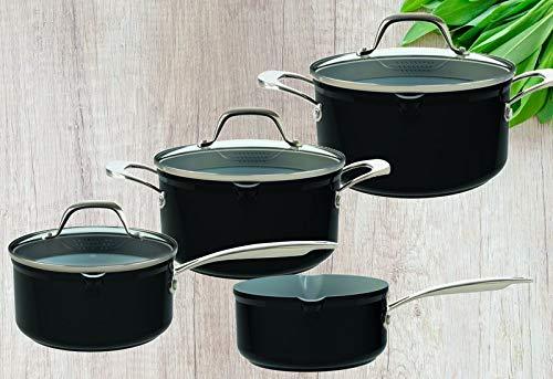 Laguiole - Batería de cocina (7 piezas, con tapa de cristal, no se pega, aluminio fundido, 2 ollas, 2 cacerolas, apta para inducción), color negro