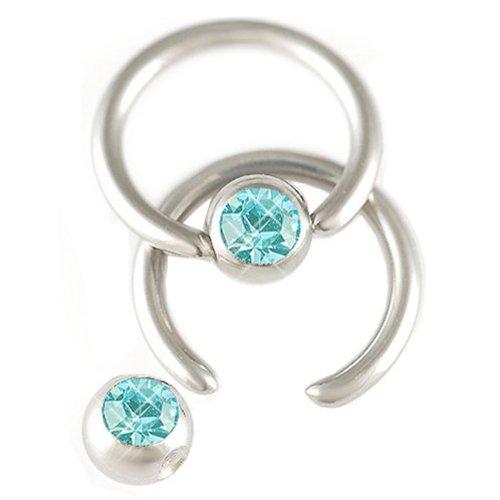 bodyjewelrytrend 2er Set 1,2mm 6mm Lippenbändchen Stahl Klemmring Ohr Piercing Kristall Körperschmuck BCR Ball Closure BFWL