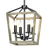 Derksic 4-Light Rustic Chandelier Metal Farmhouse Chandelier Light Fixtures Lantern Square Chandelier with Imitation Oak Wood Finish for Dining Room Kitchen Hallway Entryway Foyer Stairway