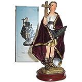 Figura San Expedito 16 cms. Pintada a Mano, con túnica de Tela Tipo Terciopelo. De Regalo Cruz de Caravaca y estampas de San Expedito, San Pancracio, San Judas Tadeo y San Miguel.